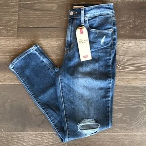 {Levi's} 721 High-Rise Distressed Skinny Jeans.